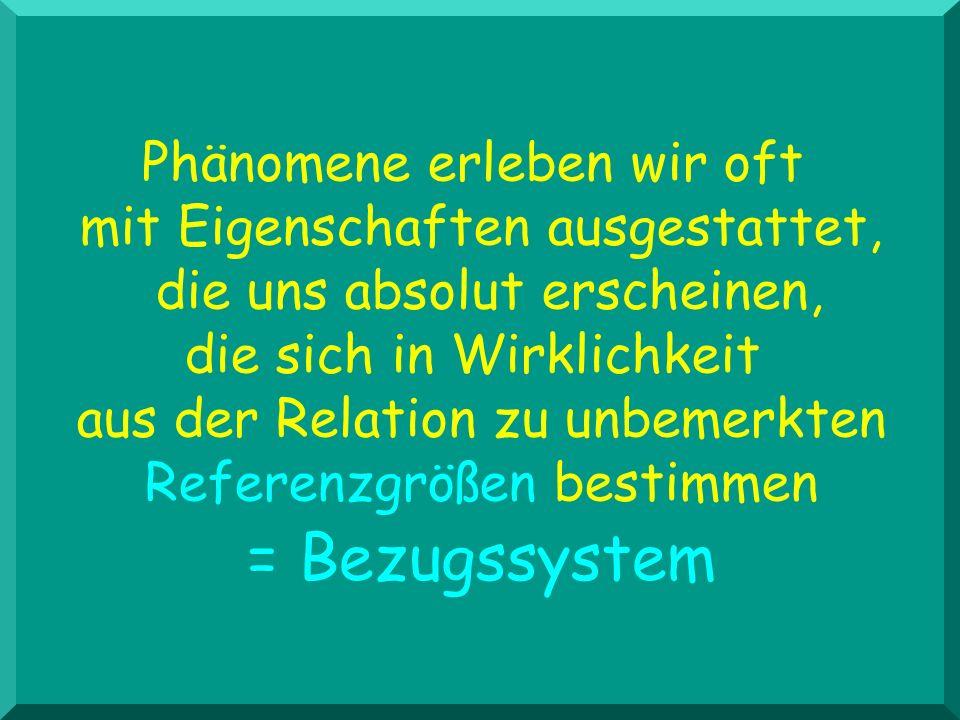= Bezugssystem Phänomene erleben wir oft mit Eigenschaften ausgestattet, die uns absolut erscheinen, die sich in Wirklichkeit aus der Relation zu unbe