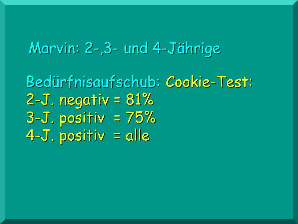 Marvin: 2-,3- und 4-Jährige Bedürfnisaufschub: Cookie-Test: 2-J. negativ = 81% 3-J. positiv = 75% 4-J. positiv = alle