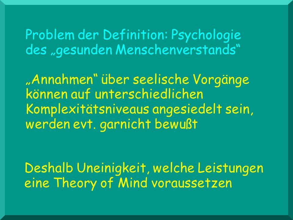 Problem der Definition: Psychologie des gesunden Menschenverstands Annahmen über seelische Vorgänge können auf unterschiedlichen Komplexitätsniveaus a