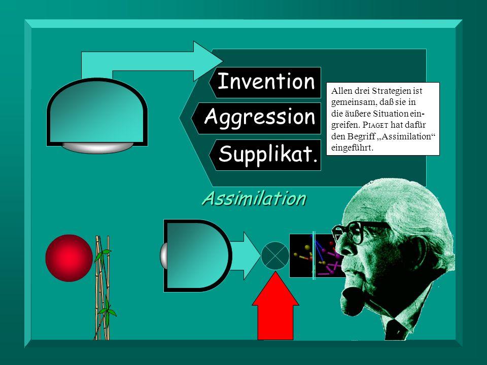 Invention Aggression Supplikat.Assimilation Allen drei Strategien ist gemeinsam, daß sie in die äußere Situation ein- greifen. P IAGET hat dafür den B