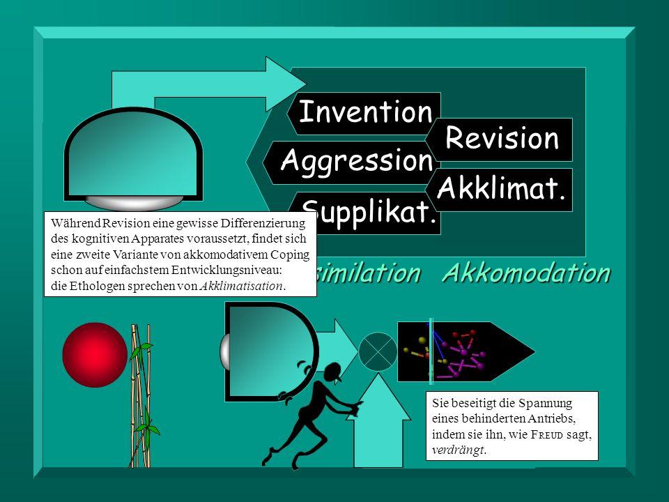 Invention Aggression Supplikat. Revision Akklimat.AkkomodationAssimilation Während Revision eine gewisse Differenzierung des kognitiven Apparates vora