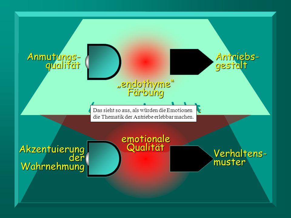 M c D OUGALL Akzentuierung der Wahrnehmung Verhaltens-muster L ERSCH Anmutungs- qualität endothymeFärbung Antriebs- gestalt emotionaleQualität Das sie