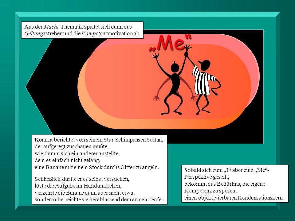 Me I Sobald sich zum I aber eine Me- Perspektive gesellt, bekommt das Bedürfnis, die eigene Kompetenz zu spüren, einen objektivierbaren Kondensationskern.