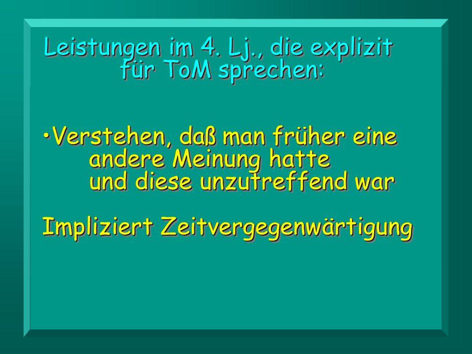 Leistungen im 4. Lj., die explizit für ToM sprechen: Leistungen im 4. Lj., die explizit für ToM sprechen: Verstehen, daß man früher eine andere Meinun