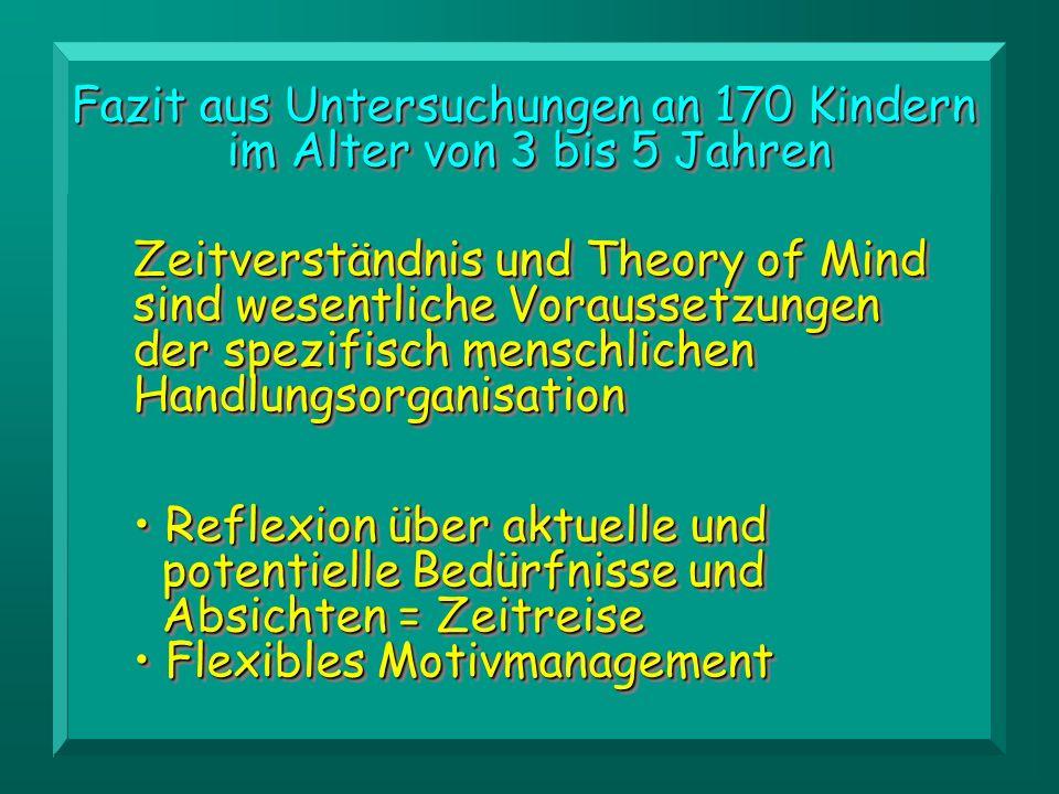 Zeitverständnis und Theory of Mind sind wesentliche Voraussetzungen der spezifisch menschlichen Handlungsorganisation Fazit aus Untersuchungen an 170