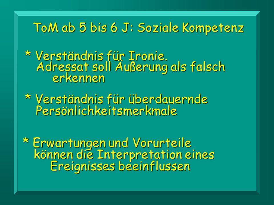 ToM ab 5 bis 6 J: Soziale Kompetenz * Verständnis für überdauernde Persönlichkeitsmerkmale * Erwartungen und Vorurteile können die Interpretation eine