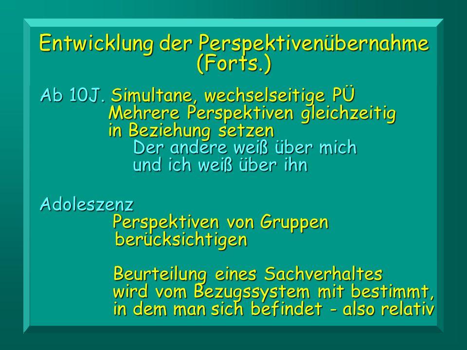 Entwicklung der Perspektivenübernahme (Forts.) Ab 10J. Simultane, wechselseitige PÜ Mehrere Perspektiven gleichzeitig in Beziehung setzen Der andere w
