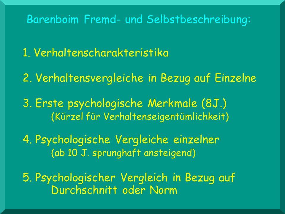1. Verhaltenscharakteristika 2. Verhaltensvergleiche in Bezug auf Einzelne 3. Erste psychologische Merkmale (8J.) (K ü rzel f ü r Verhaltenseigent ü m