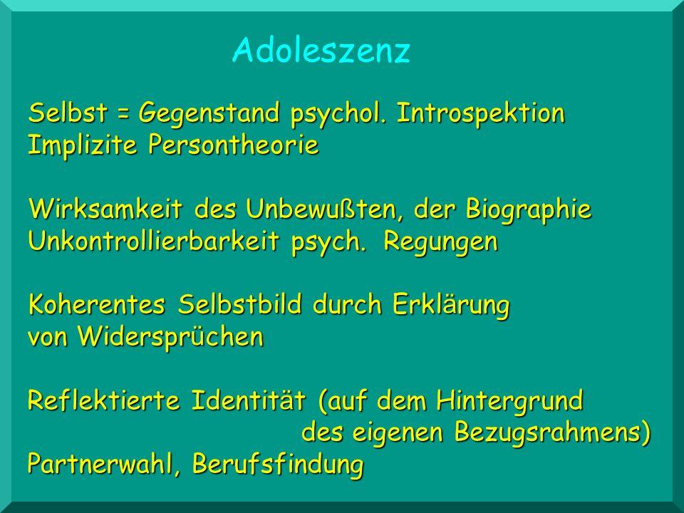 Selbst = Gegenstand psychol. Introspektion Implizite Persontheorie Wirksamkeit des Unbewu ß ten, der Biographie Unkontrollierbarkeit psych. Regungen K