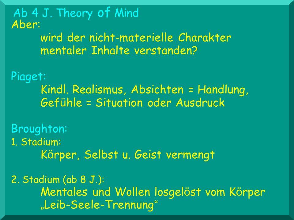 Aber: wird der nicht-materielle Charakter mentaler Inhalte verstanden? Piaget: Kindl. Realismus, Absichten = Handlung, Gef ü hle = Situation oder Ausd