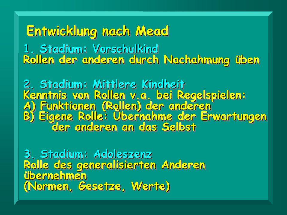 Entwicklung nach Mead 1. Stadium: Vorschulkind Rollen der anderen durch Nachahmung üben 1. Stadium: Vorschulkind Rollen der anderen durch Nachahmung ü