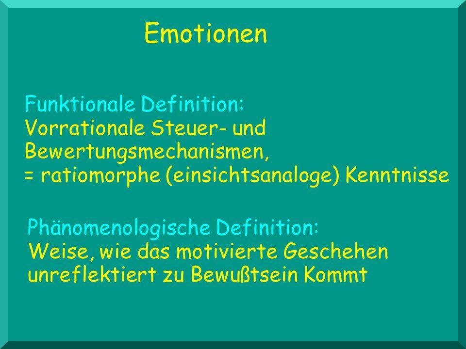 Emotionen Phänomenologische Definition: Weise, wie das motivierte Geschehen unreflektiert zu Bewußtsein Kommt Funktionale Definition: Vorrationale Steuer- und Bewertungsmechanismen, = ratiomorphe (einsichtsanaloge) Kenntnisse
