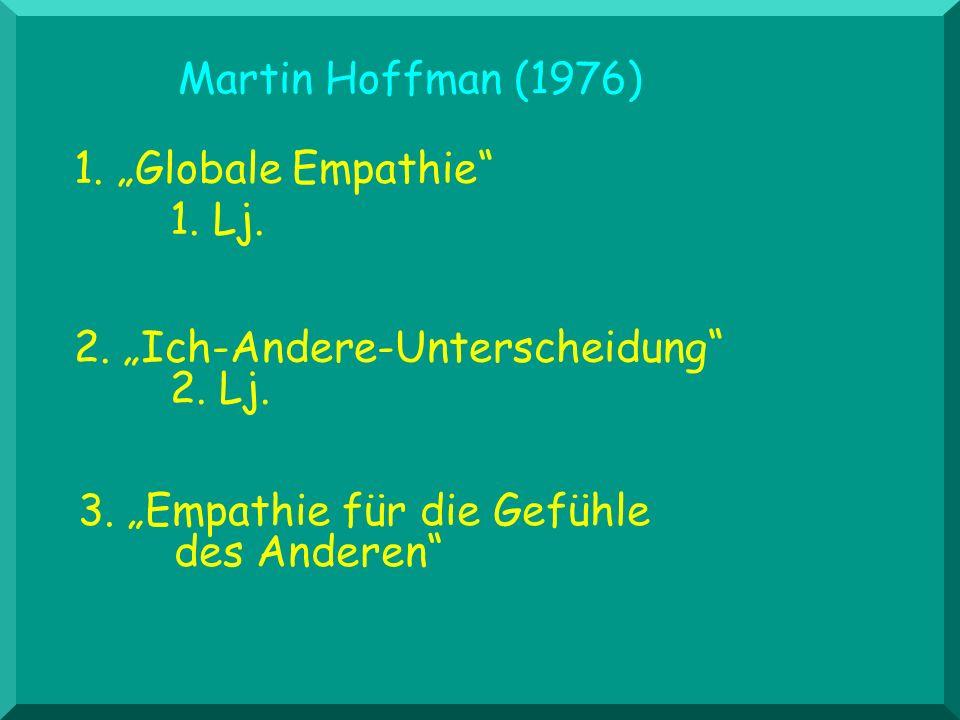 Martin Hoffman (1976) 2. Ich-Andere-Unterscheidung 2. Lj. 3. Empathie für die Gefühle des Anderen 1. Globale Empathie 1. Lj.