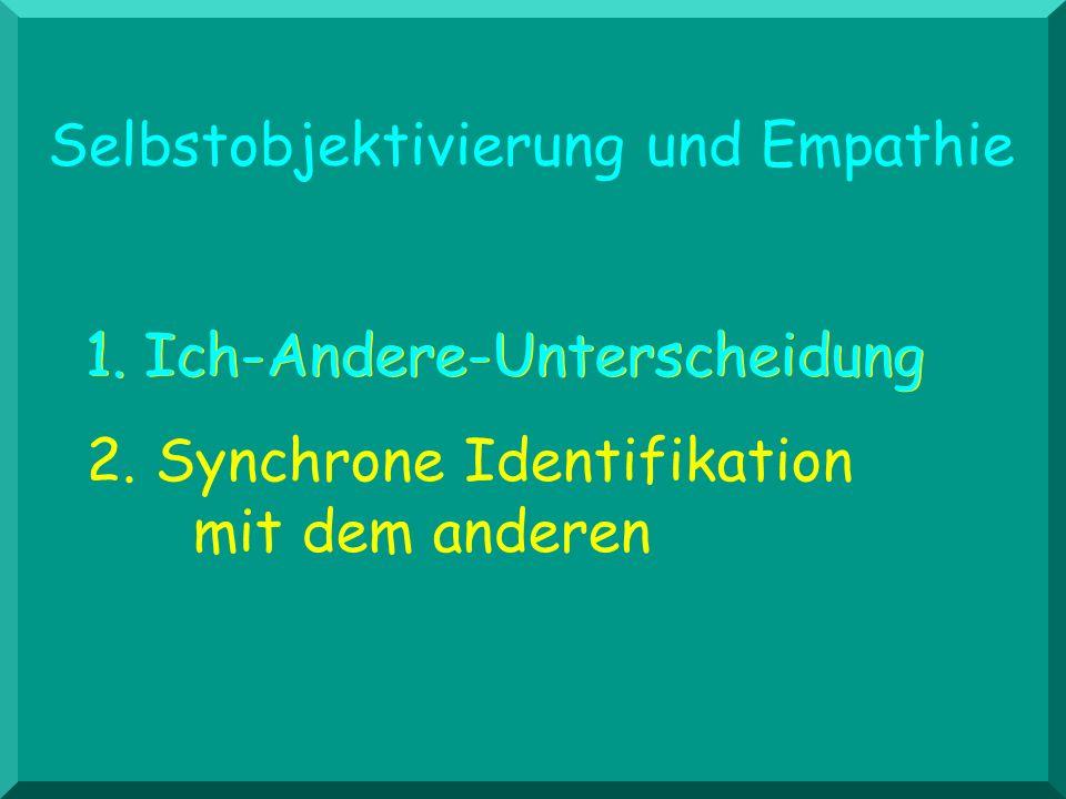 Selbstobjektivierung und Empathie 2. Synchrone Identifikation mit dem anderen 1. Ich-Andere-Unterscheidung