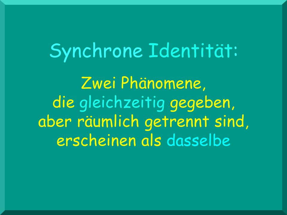 Synchrone Identität: Zwei Phänomene, die gleichzeitig gegeben, aber räumlich getrennt sind, erscheinen als dasselbe