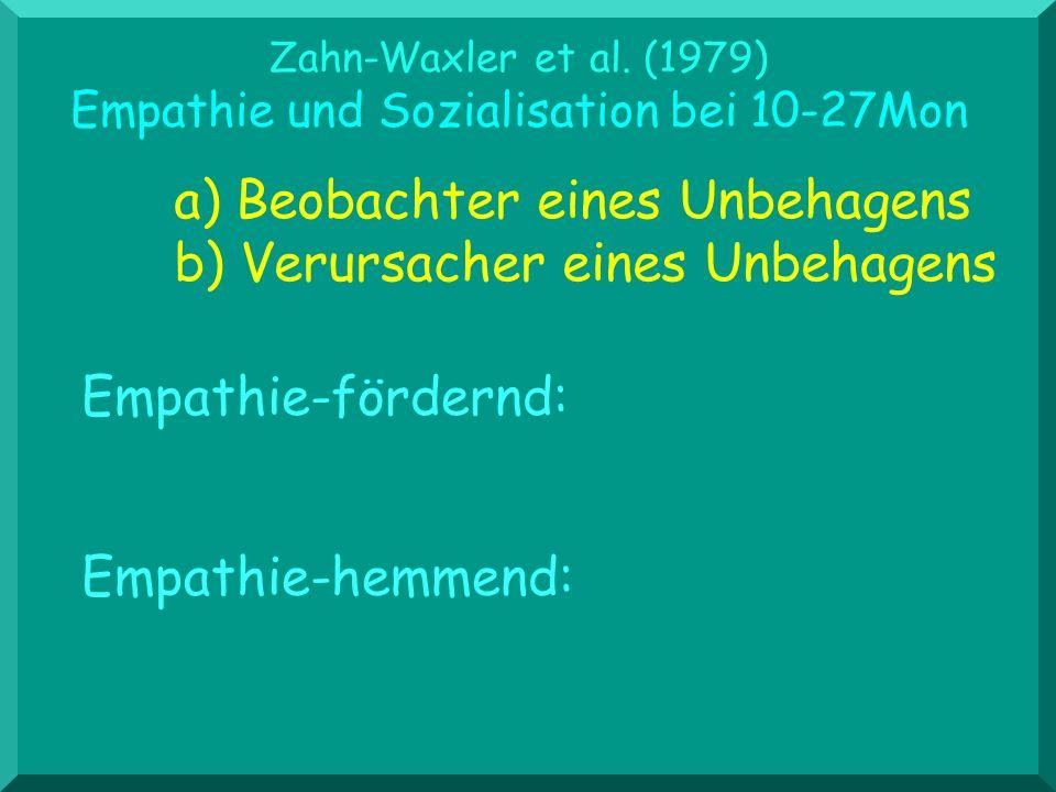 Zahn-Waxler et al. (1979) Empathie und Sozialisation bei 10-27Mon a) Beobachter eines Unbehagens b) Verursacher eines Unbehagens Empathie-hemmend: Emp
