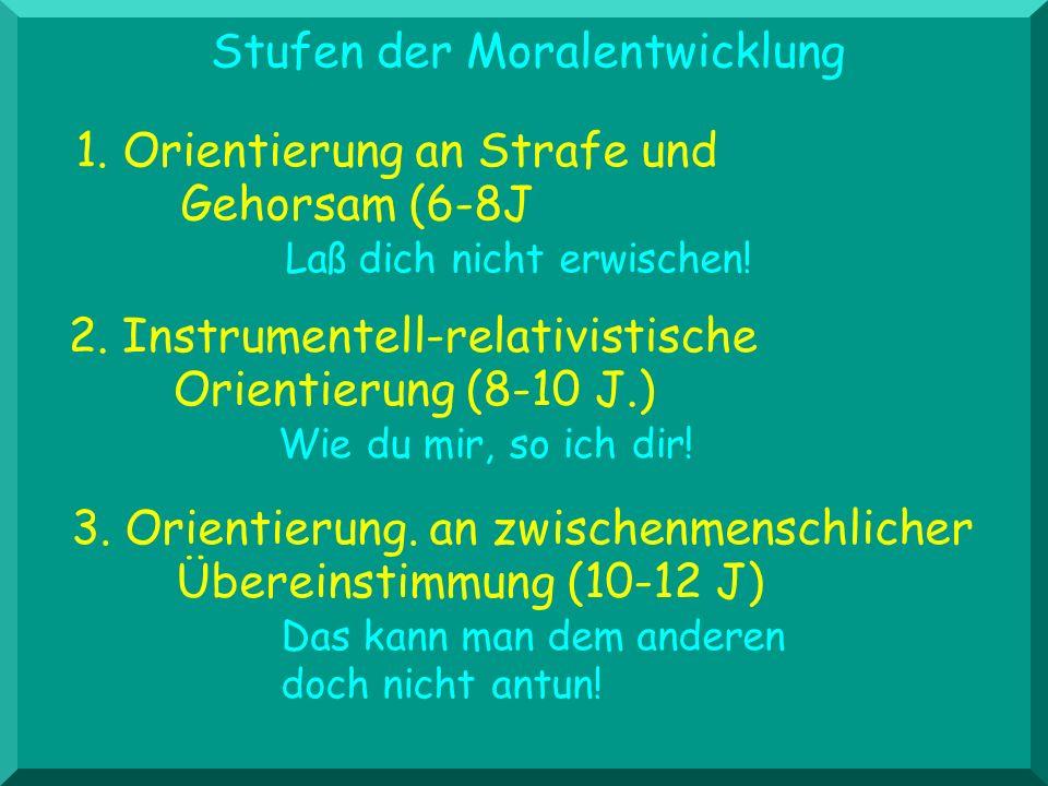 Stufen der Moralentwicklung 3. Orientierung. an zwischenmenschlicher Übereinstimmung (10-12 J) Das kann man dem anderen doch nicht antun! 1. Orientier