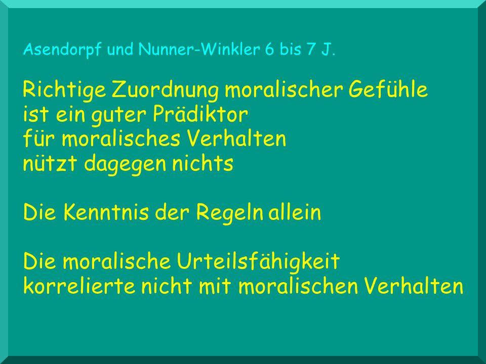Asendorpf und Nunner-Winkler 6 bis 7 J. Richtige Zuordnung moralischer Gefühle ist ein guter Prädiktor für moralisches Verhalten nützt dagegen nichts