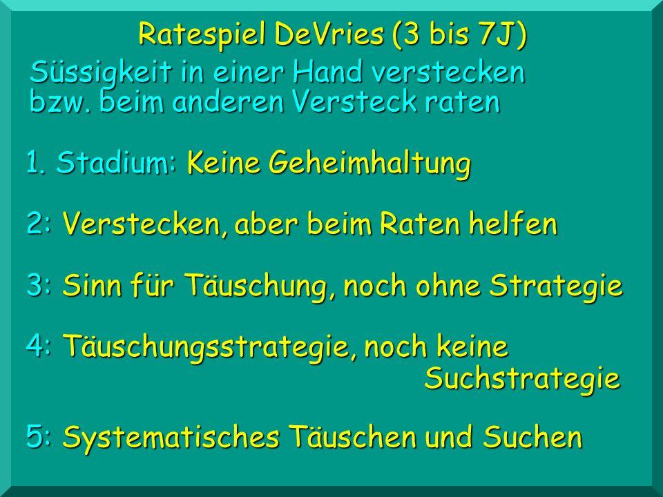Ratespiel DeVries (3 bis 7J) 2: Verstecken, aber beim Raten helfen Süssigkeit in einer Hand verstecken bzw. beim anderen Versteck raten 1. Stadium: Ke