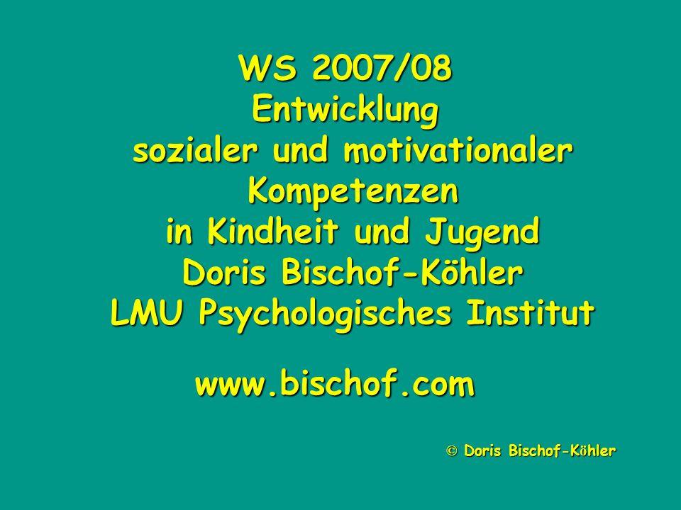 WS 2007/08 Entwicklung sozialer und motivationaler Kompetenzen in Kindheit und Jugend Doris Bischof-Köhler LMU Psychologisches Institut © Doris Bischo