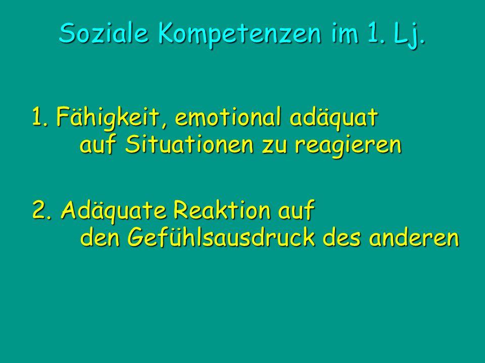 Soziale Kompetenzen im 1. Lj. 1. Fähigkeit, emotional adäquat auf Situationen zu reagieren 2. Adäquate Reaktion auf den Gefühlsausdruck des anderen