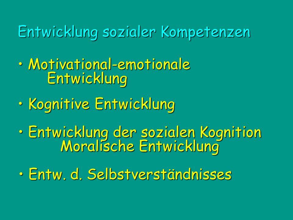Entwicklung der sozialen Kognition Entwicklung der sozialen Kognition Moralische Entwicklung Motivational-emotionale Entwicklung Motivational-emotionale Entwicklung Kognitive Entwicklung Kognitive Entwicklung Entwicklung sozialer Kompetenzen Entw.