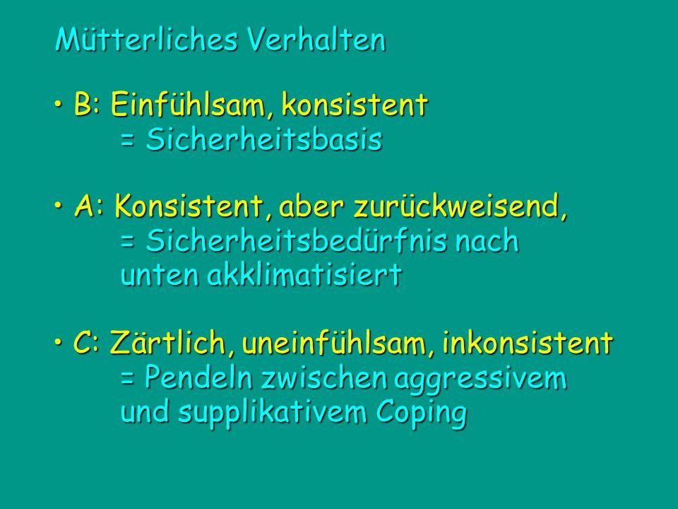 C: Zärtlich, uneinfühlsam, inkonsistent C: Zärtlich, uneinfühlsam, inkonsistent = Pendeln zwischen aggressivem und supplikativem Coping Mütterliches V