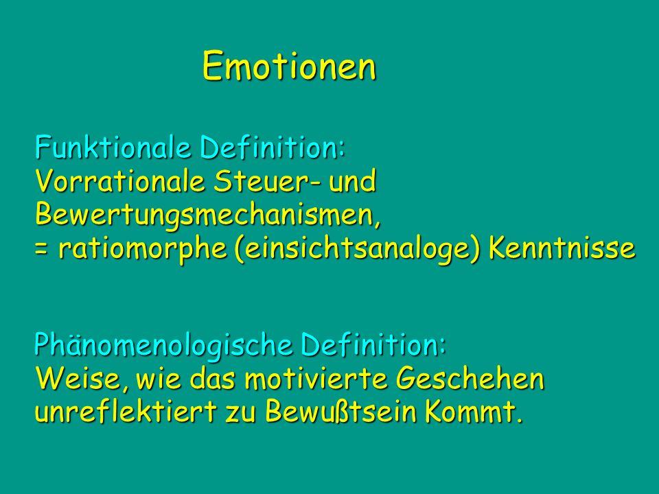 Emotionen Phänomenologische Definition: Weise, wie das motivierte Geschehen unreflektiert zu Bewußtsein Kommt. Funktionale Definition: Vorrationale St