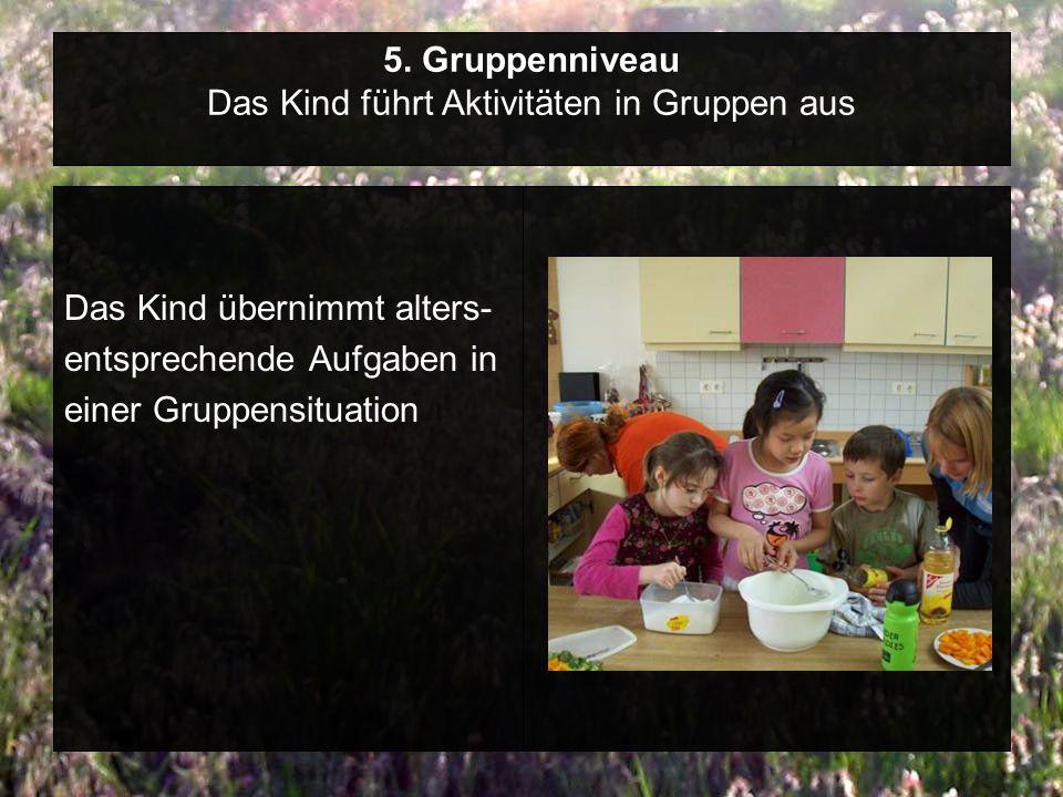 5. Gruppenniveau Das Kind führt Aktivitäten in Gruppen aus Das Kind übernimmt alters- entsprechende Aufgaben in einer Gruppensituation