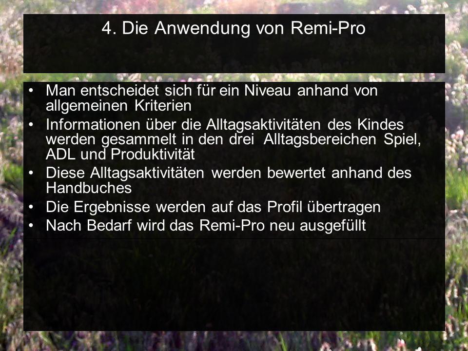 4. Die Anwendung von Remi-Pro Man entscheidet sich für ein Niveau anhand von allgemeinen Kriterien Informationen über die Alltagsaktivitäten des Kinde