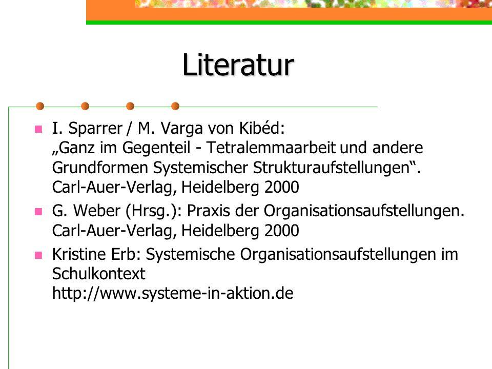 Literatur I. Sparrer / M. Varga von Kibéd: Ganz im Gegenteil - Tetralemmaarbeit und andere Grundformen Systemischer Strukturaufstellungen. Carl-Auer-V