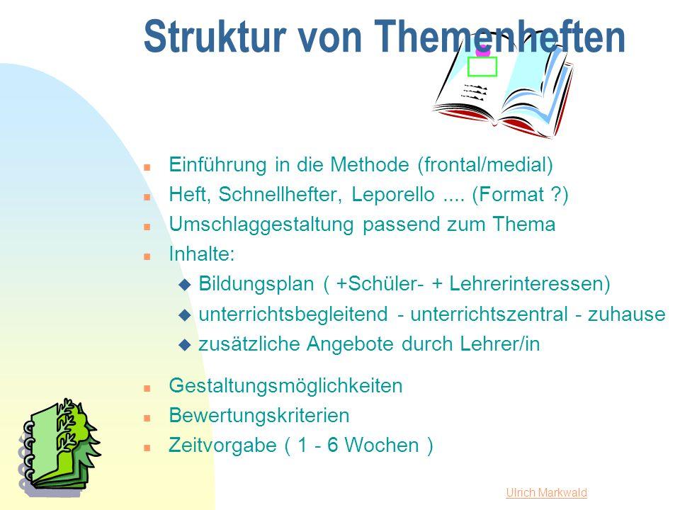 Ulrich Markwald Struktur von Themenheften n Einführung in die Methode (frontal/medial) n Heft, Schnellhefter, Leporello.... (Format ?) n Umschlaggesta
