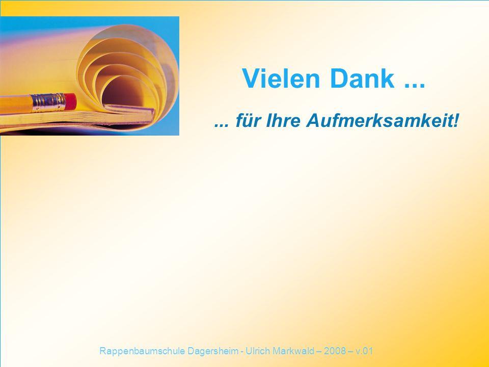 ... für Ihre Aufmerksamkeit! Vielen Dank... Rappenbaumschule Dagersheim - Ulrich Markwald – 2008 – v.01