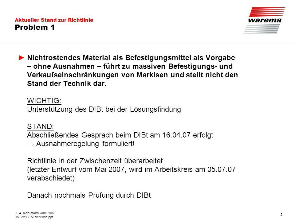 Aktueller Stand zur Richtlinie H. A. Kohlmann, Juni 2007 BKTex0607-Richtlinie.ppt 2 Problem 1 Nichtrostendes Material als Befestigungsmittel als Vorga