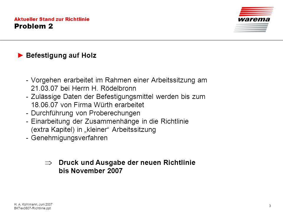 Aktueller Stand zur Richtlinie H. A. Kohlmann, Juni 2007 BKTex0607-Richtlinie.ppt 3 Problem 2 Befestigung auf Holz - Vorgehen erarbeitet im Rahmen ein