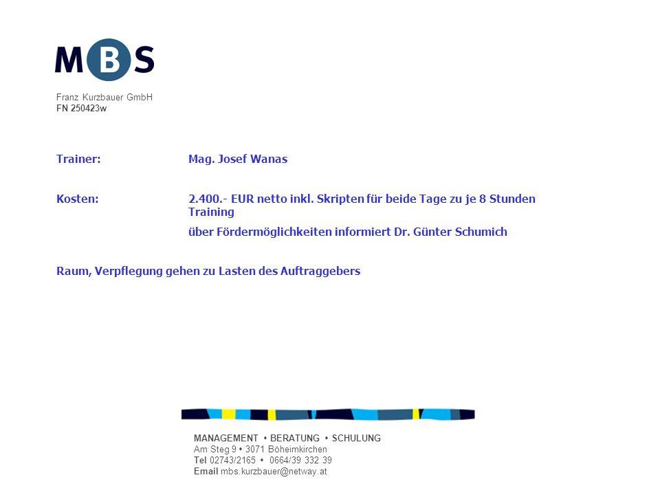 Franz Kurzbauer GmbH FN 250423w MANAGEMENT BERATUNG SCHULUNG Am Steg 9 3071 Böheimkirchen Tel 02743/2165 0664/39 332 39 Email mbs.kurzbauer@netway.at Trainer:Mag.