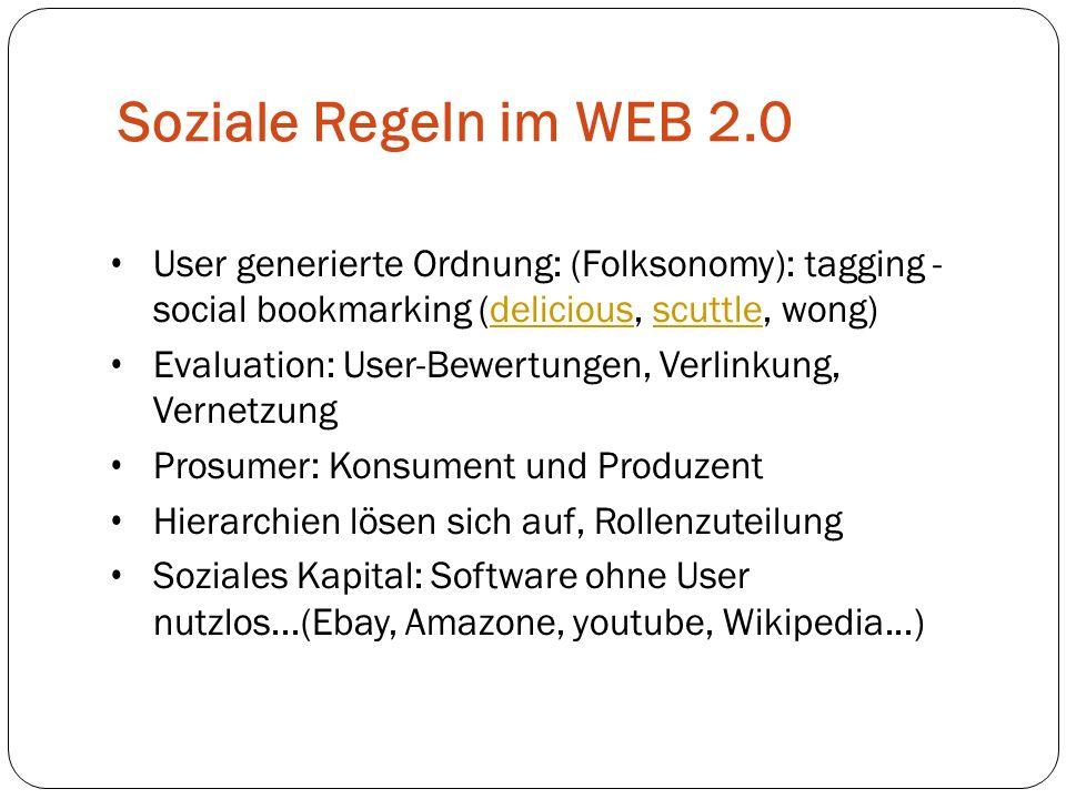 Soziale Regeln im WEB 2.0 User generierte Ordnung: (Folksonomy): tagging - social bookmarking (delicious, scuttle, wong)deliciousscuttle Evaluation: U