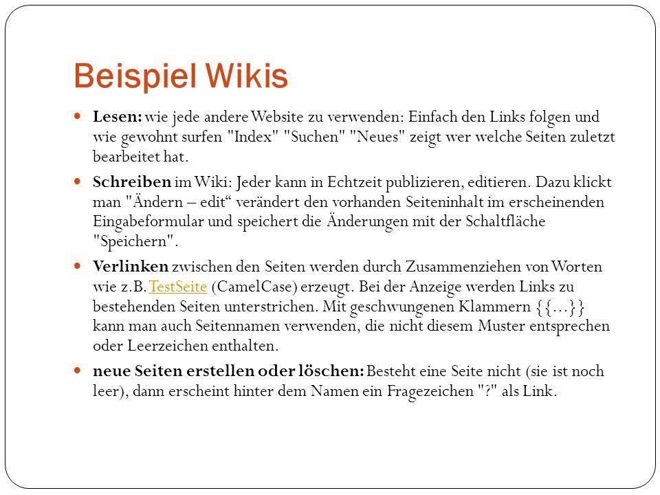 Beispiel Wikis Lesen: wie jede andere Website zu verwenden: Einfach den Links folgen und wie gewohnt surfen