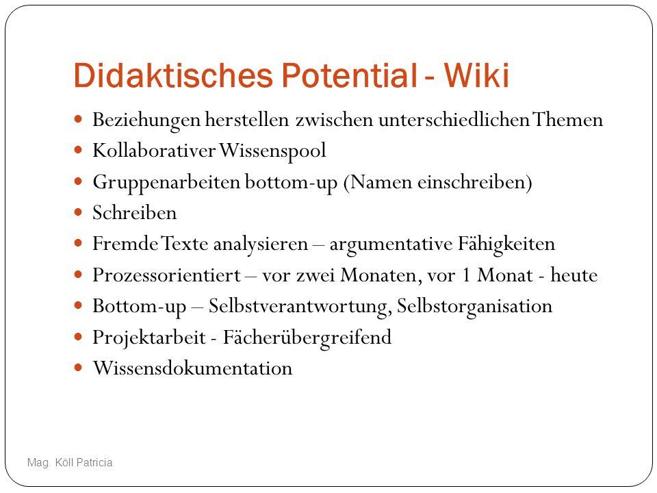 Didaktisches Potential - Wiki Beziehungen herstellen zwischen unterschiedlichen Themen Kollaborativer Wissenspool Gruppenarbeiten bottom-up (Namen ein
