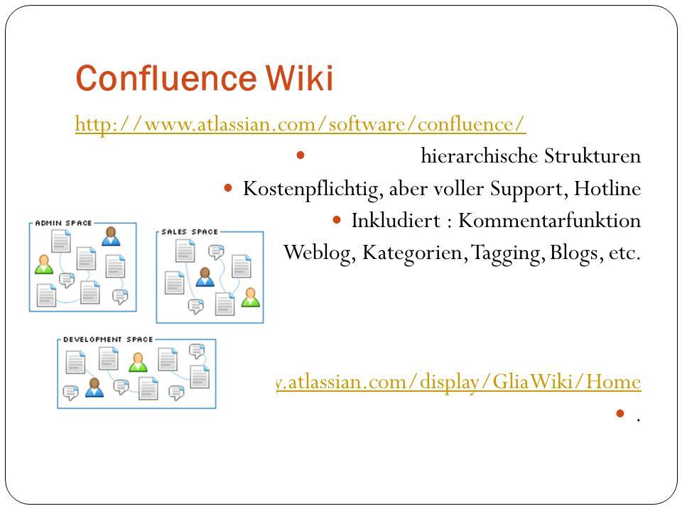 Confluence Wiki http://www.atlassian.com/software/confluence/ hierarchische Strukturen Kostenpflichtig, aber voller Support, Hotline Inkludiert : Komm