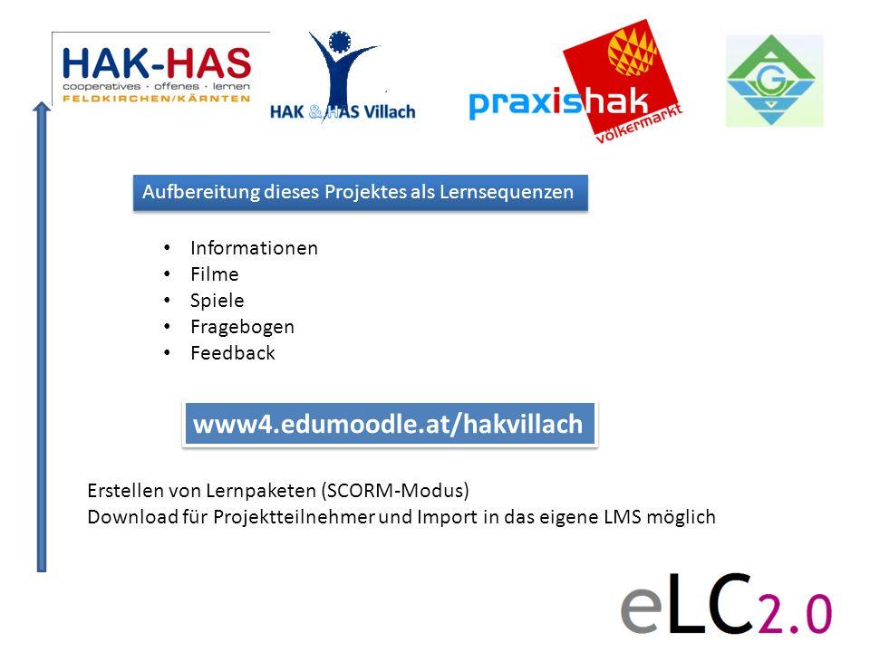 Aufbereitung dieses Projektes als Lernsequenzen www4.edumoodle.at/hakvillach Erstellen von Lernpaketen (SCORM-Modus) Download für Projektteilnehmer un