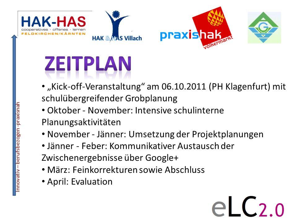 Innovativ – berufsbezogen -praxisnah Kick-off-Veranstaltung am 06.10.2011 (PH Klagenfurt) mit schulübergreifender Grobplanung Oktober - November: Inte