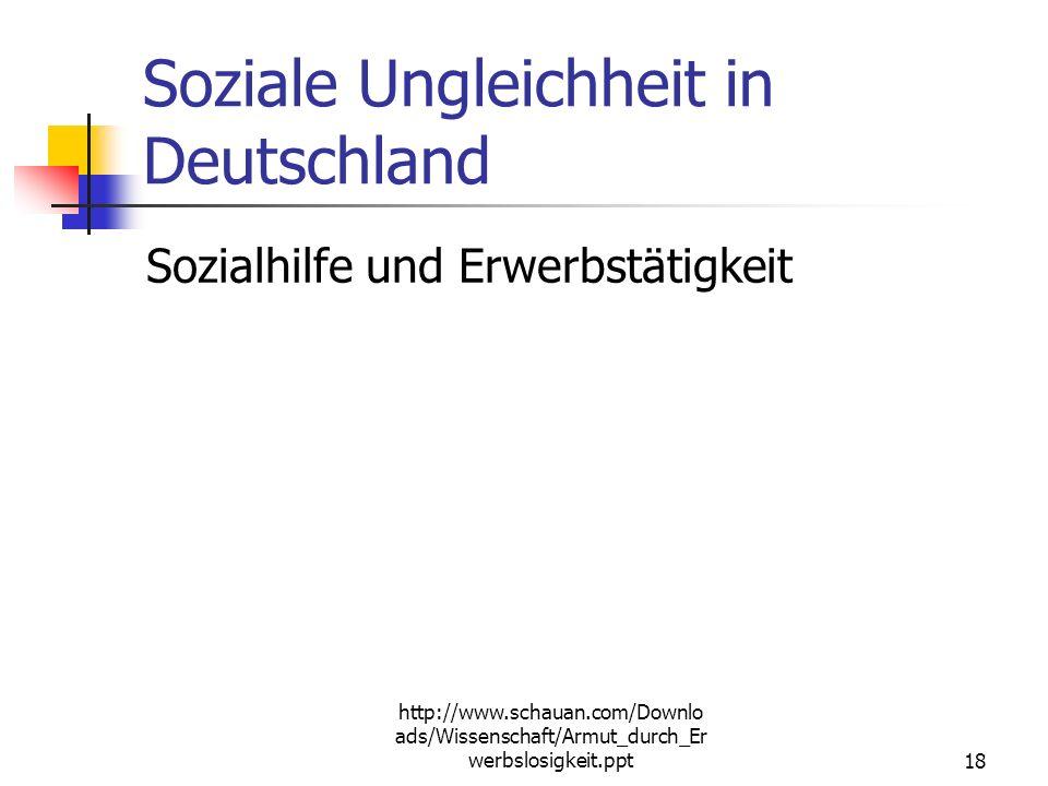http://www.schauan.com/Downloads/Wissenschaft/Armut_durch_Erwerbslosigkeit.ppt 17 Sozialhilfe - Regeln Systematisch verschieden zum alten BSHG, Leistu