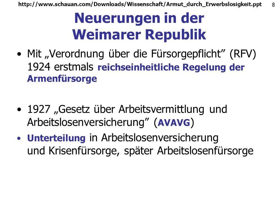http://www.schauan.com/Downloads/Wissenschaft/Armut_durch_Erwerbslosigkeit.ppt 8 Neuerungen in der Weimarer Republik Mit Verordnung über die Fürsorgepflicht (RFV) 1924 erstmals reichseinheitliche Regelung der Armenfürsorge 1927 Gesetz über Arbeitsvermittlung und Arbeitslosenversicherung ( AVAVG ) Unterteilung in Arbeitslosenversicherung und Krisenfürsorge, später Arbeitslosenfürsorge