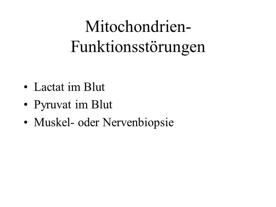 Mitochondrien- Funktionsstörungen Lactat im Blut Pyruvat im Blut Muskel- oder Nervenbiopsie