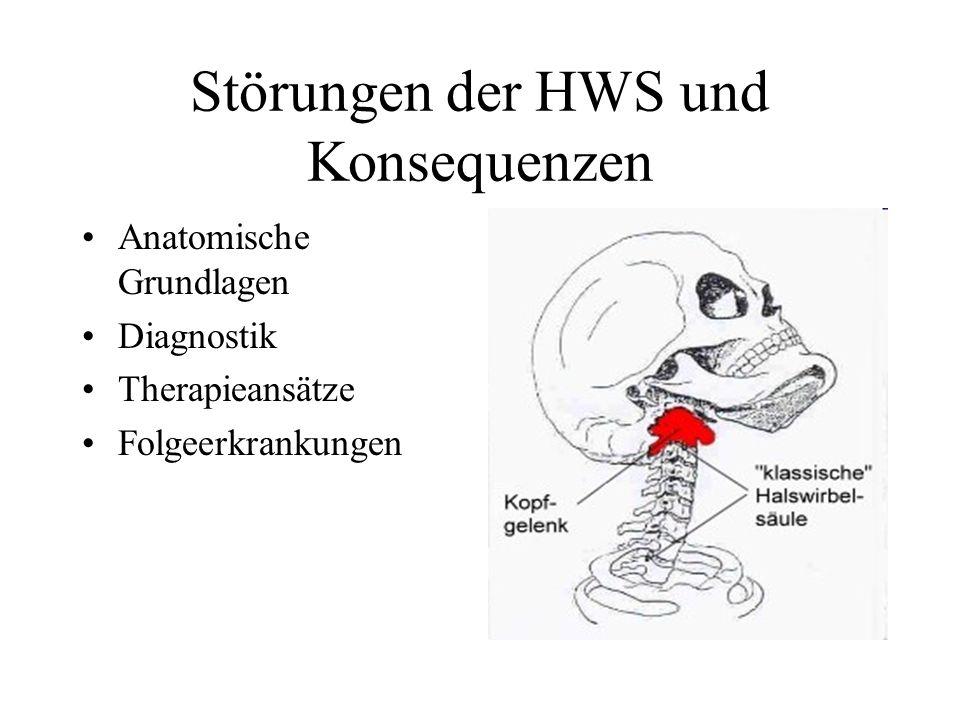 Störungen der HWS und Konsequenzen Anatomische Grundlagen Diagnostik Therapieansätze Folgeerkrankungen