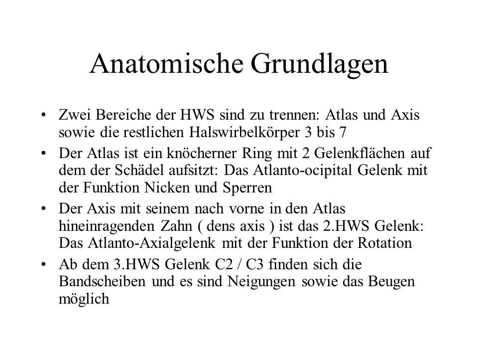 Anatomische Grundlagen Zwei Bereiche der HWS sind zu trennen: Atlas und Axis sowie die restlichen Halswirbelkörper 3 bis 7 Der Atlas ist ein knöcherne