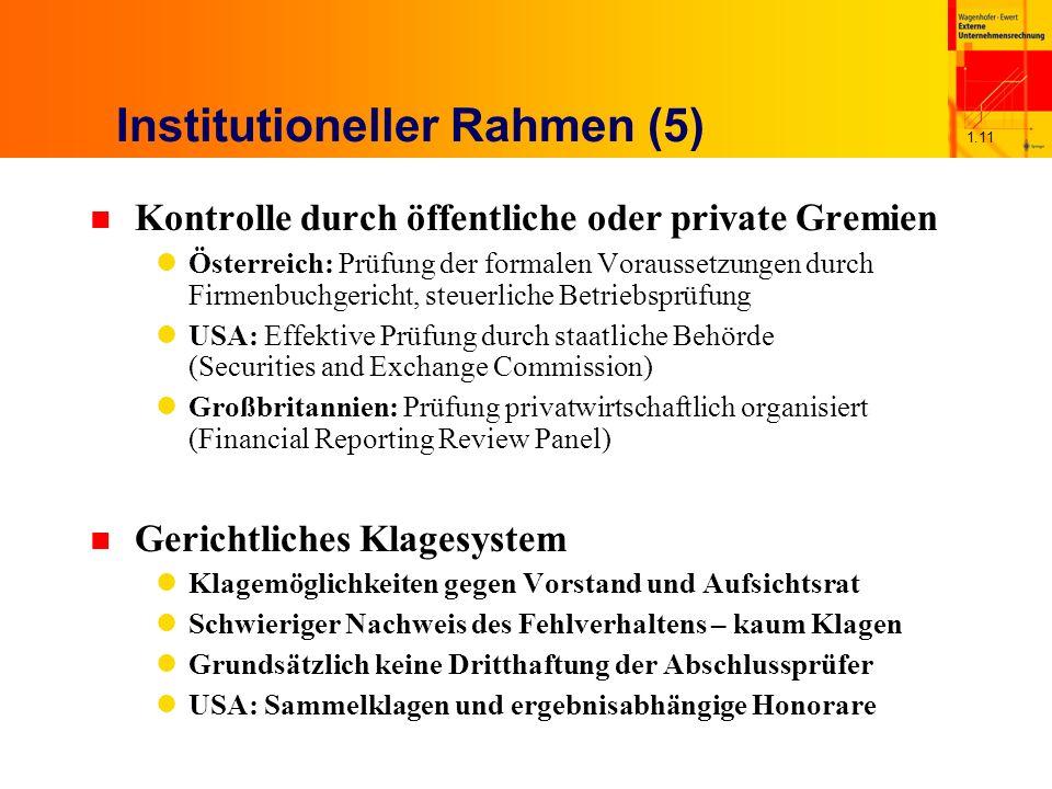 1.11 Institutioneller Rahmen (5) n Kontrolle durch öffentliche oder private Gremien Österreich: Prüfung der formalen Voraussetzungen durch Firmenbuchg