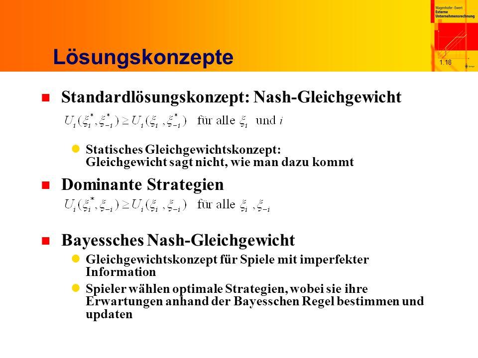 1.18 Lösungskonzepte n Standardlösungskonzept: Nash-Gleichgewicht Statisches Gleichgewichtskonzept: Gleichgewicht sagt nicht, wie man dazu kommt n Dom