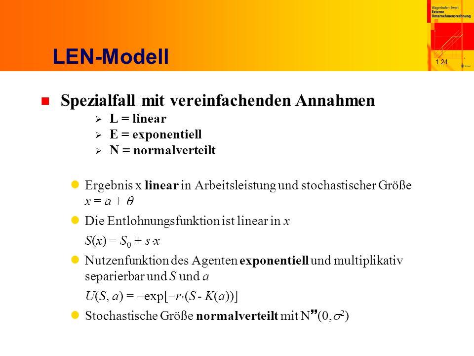 1.24 LEN-Modell n Spezialfall mit vereinfachenden Annahmen L = linear E = exponentiell N = normalverteilt Ergebnis x linear in Arbeitsleistung und sto
